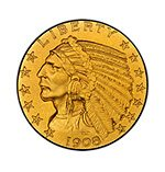 A RARE 1908 GOLD HALF EAGLE INDIAN HEAD COIN