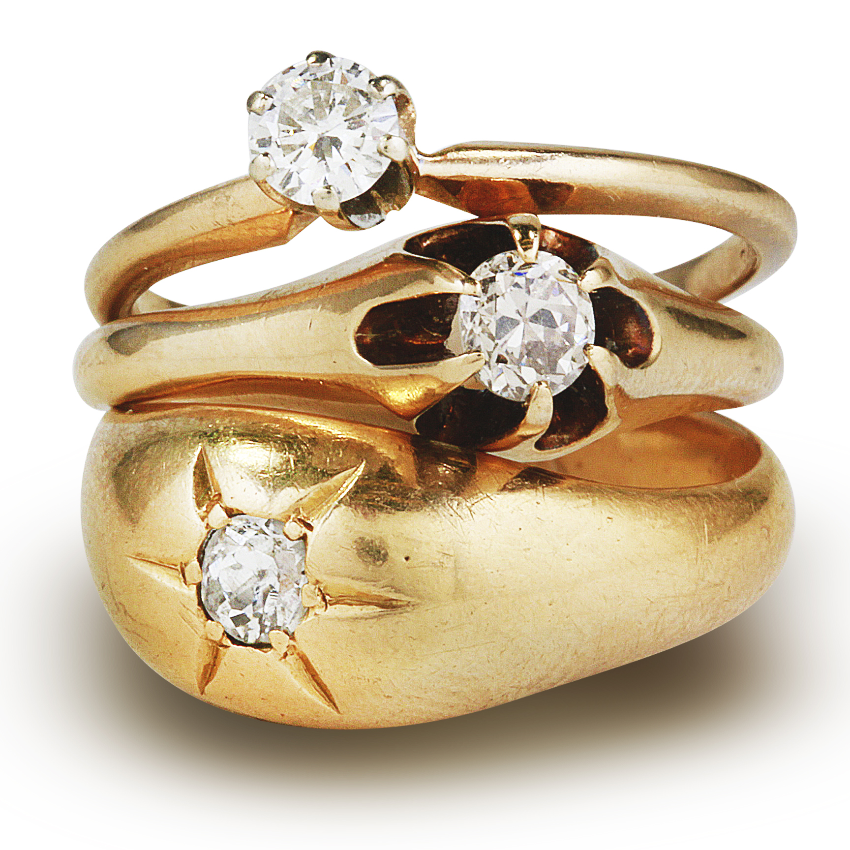 Diamond Rings in 14k Yellow Gold