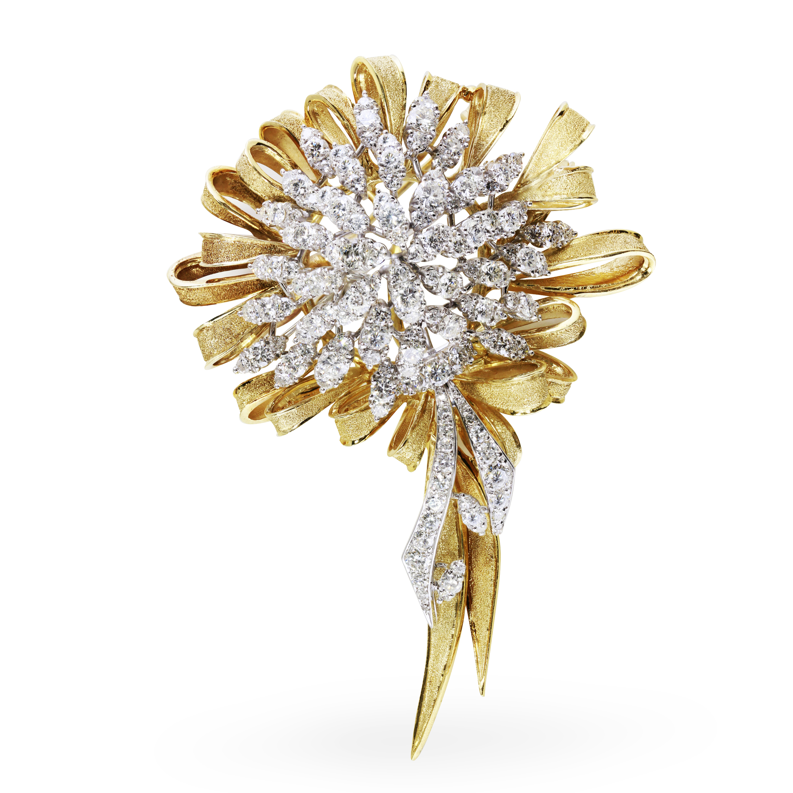 18K Yellow Gold and Diamond Estate Brooches and Pins