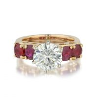 2.34 Carat Diamond And Ruby Ring