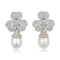 Cultured Pearl And Diamond Day Night Earrings