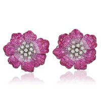 Ombre Pink Sapphire And Diamond Flower Earrings